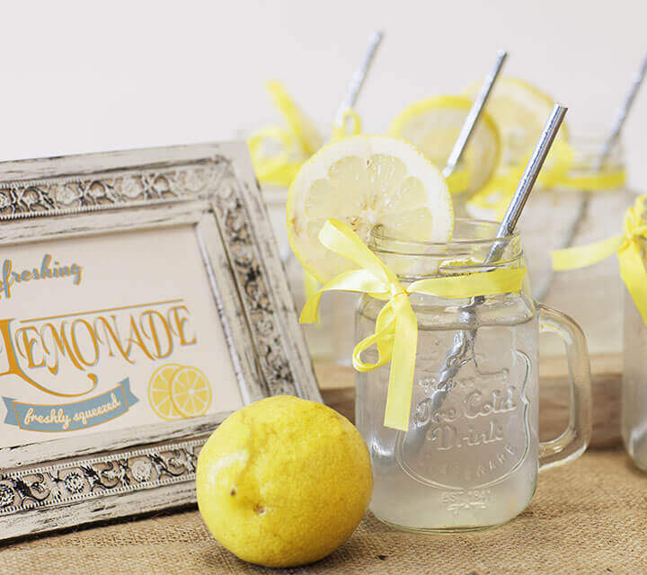 Baby Shower Decorations - Fresh Lemonade Mason Jars